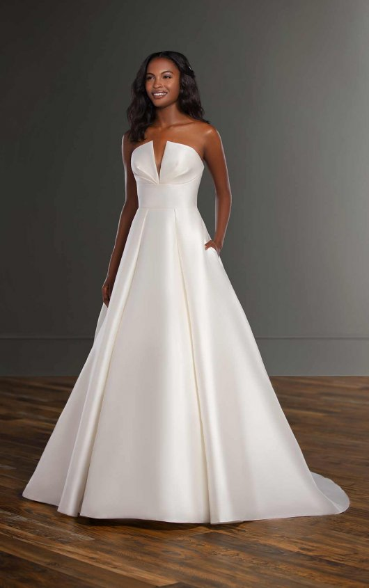 V-neck Silk Ball Gown Wedding Dress by Martina Liana - Image 1