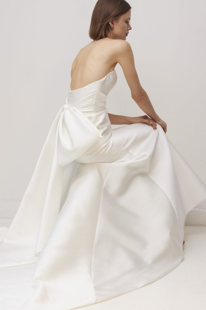 Strapless Sweetheart Neckline Fit And Flare Wedding Dress With Bow by Rivini - Image 2