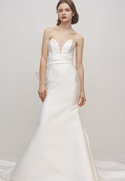 Strapless Sweetheart Neckline Fit And Flare Wedding Dress With Bow by Rivini