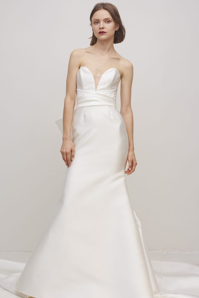 Strapless Sweetheart Neckline Fit And Flare Wedding Dress With Bow by Rivini - Image 1