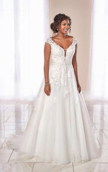 Cap Sleeve V-neck Lace Ball Gown Wedding Dress by Stella York - Image 1