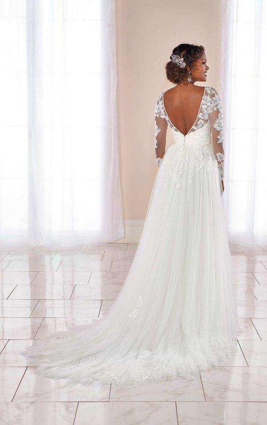 Long Sleeve V-neck Floral Lace A-line Wedding Dress by Stella York - Image 2