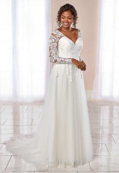 Long Sleeve V-neck Floral Lace A-line Wedding Dress by Stella York
