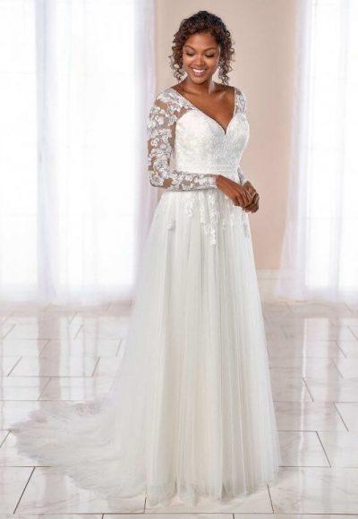 Long Sleeve V-neck Floral Lace A-line Wedding Dress by Stella York