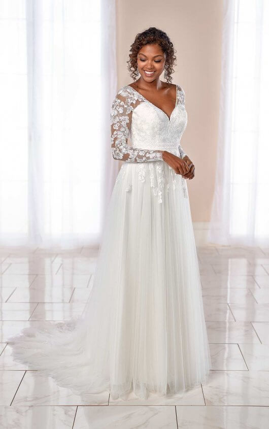 Long Sleeve V-neck Floral Lace A-line Wedding Dress by Stella York - Image 1