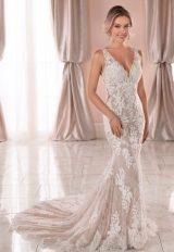 Sleeveless V-neck Lace Wedding Dress by Stella York - Image 1