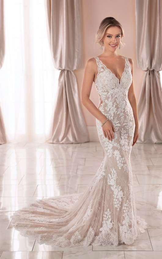 Sleeveless V-neck Lace Wedding Dress by Stella York - Image 1