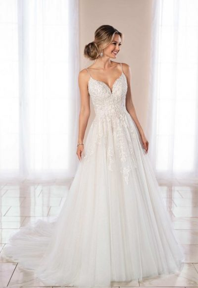 Spaghetti Strap Ball Gown Wedding Dress by Stella York
