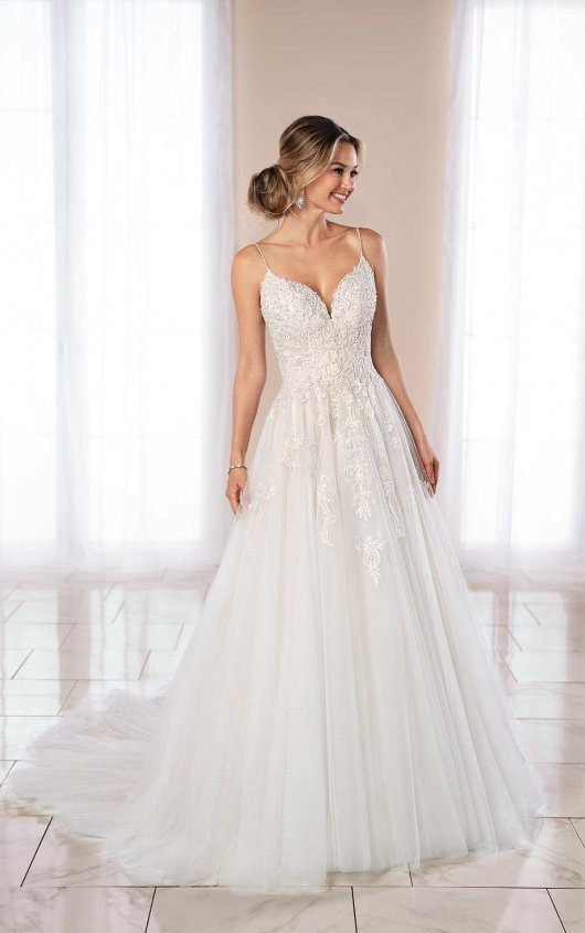 Spaghetti Strap Ball Gown Wedding Dress by Stella York - Image 1