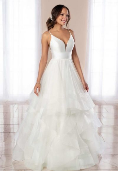 V-NECK SPAGHETTI STRAP A-LINE WEDDING DRESS WITH TIERED TULLE SKIRT by Stella York