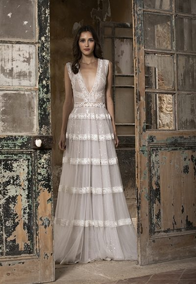 Sleeveless V-neckline A-line Wedding Dress With Lace And Glitter by Tony Ward