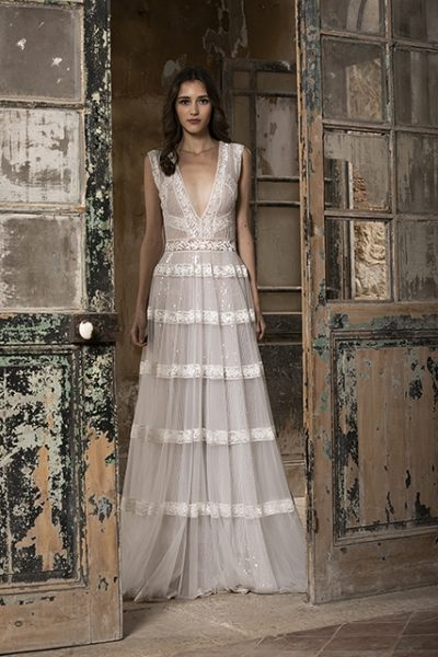 Sleeveless V-neckline A-line Wedding Dress With Lace And Glitter by Tony Ward - Image 1