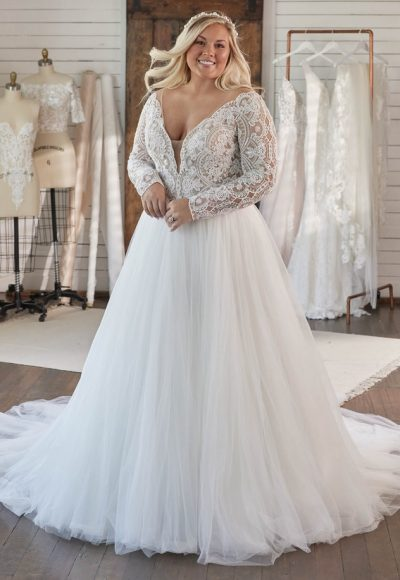 Long Sleeve V-neckline Lace Ball Gown Wedding Dress by Maggie Sottero