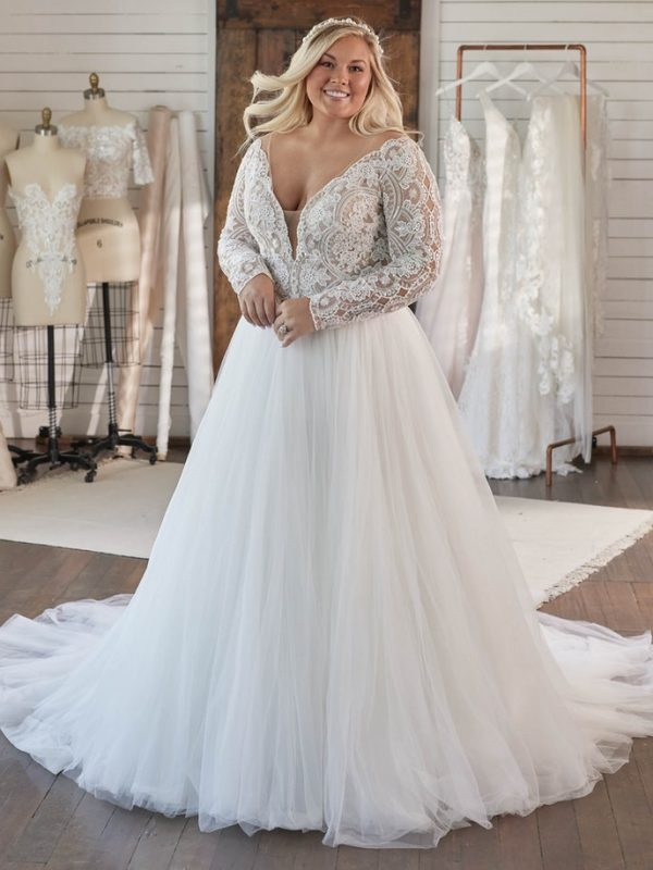 Long Sleeve V-neckline Lace Ball Gown Wedding Dress by Maggie Sottero - Image 1