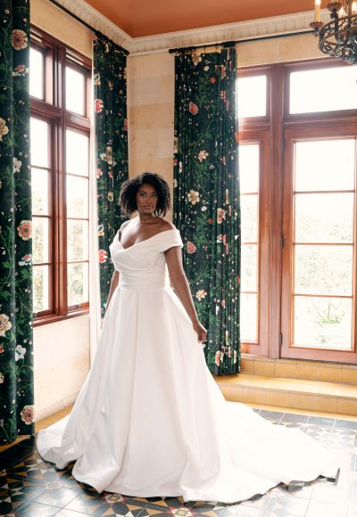 Simple Silk Ballgown Wedding Dress by Sareh Nouri