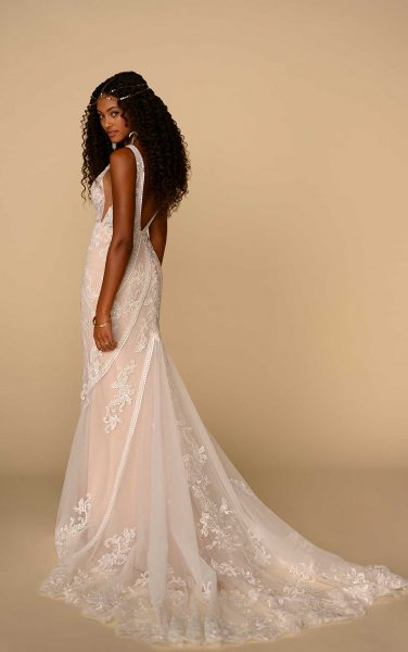 Sleeveless V-neckline Fit And Flare Wedding Dress With Floral Lace by All Who Wander - Image 2