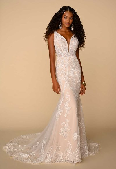 Sleeveless V-neckline Fit And Flare Wedding Dress With Floral Lace by All Who Wander