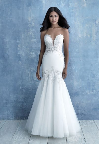 Strapless Sweetheart Neckline Beaded Fit And Flare Wedidng Dress by Allure Bridals