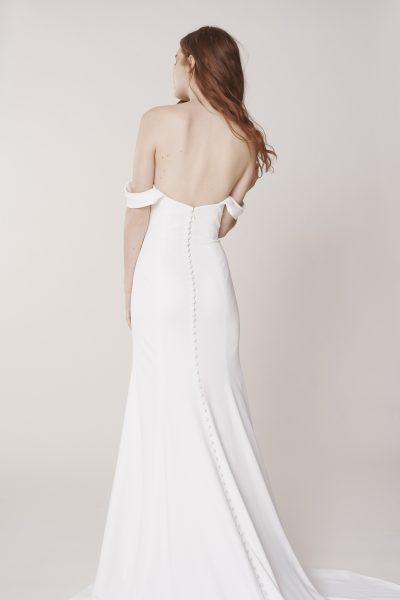 Off The Shoulder Sweetheart Neckline Simple Sheath Wedding Dress by Alyne by Rita Vinieris - Image 2