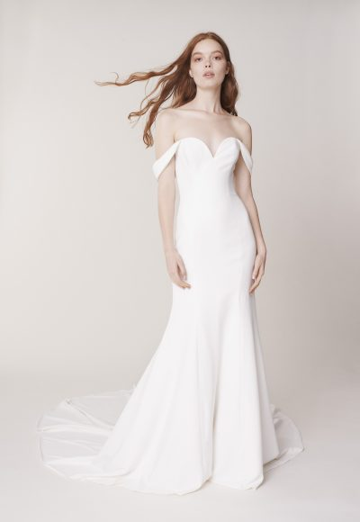 Off The Shoulder Sweetheart Neckline Simple Sheath Wedding Dress by Alyne by Rita Vinieris