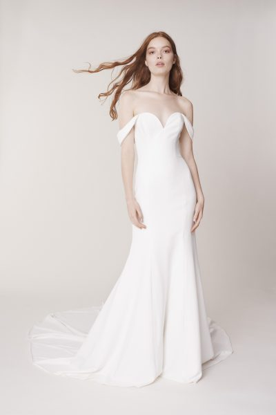 Off The Shoulder Sweetheart Neckline Simple Sheath Wedding Dress by Alyne by Rita Vinieris - Image 1