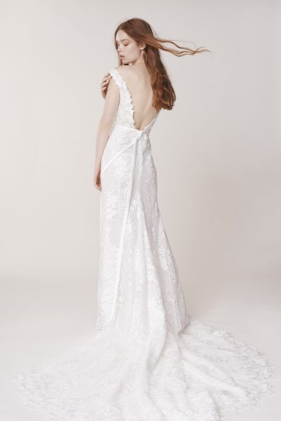 Sleeveless Sweetheart Neckline Floral Sheath Wedding Dress by Alyne by Rita Vinieris - Image 2