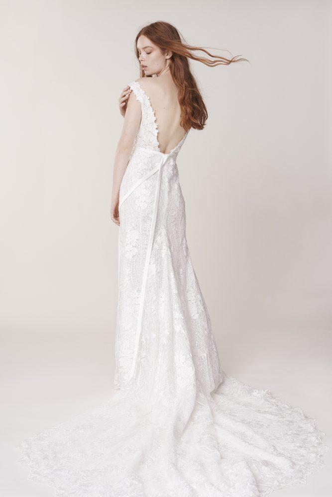 Sleeveless Sweetheart Neckline Floral Sheath Wedding Dress by Alyne by Rita Vinieris - Image 2