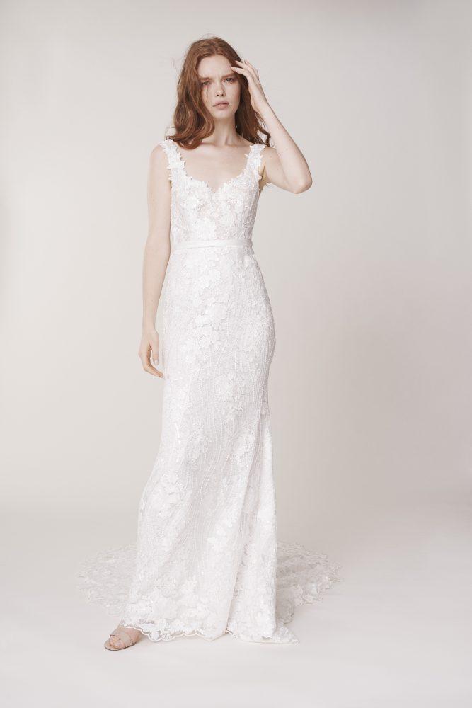 Sleeveless Sweetheart Neckline Floral Sheath Wedding Dress by Alyne by Rita Vinieris - Image 1