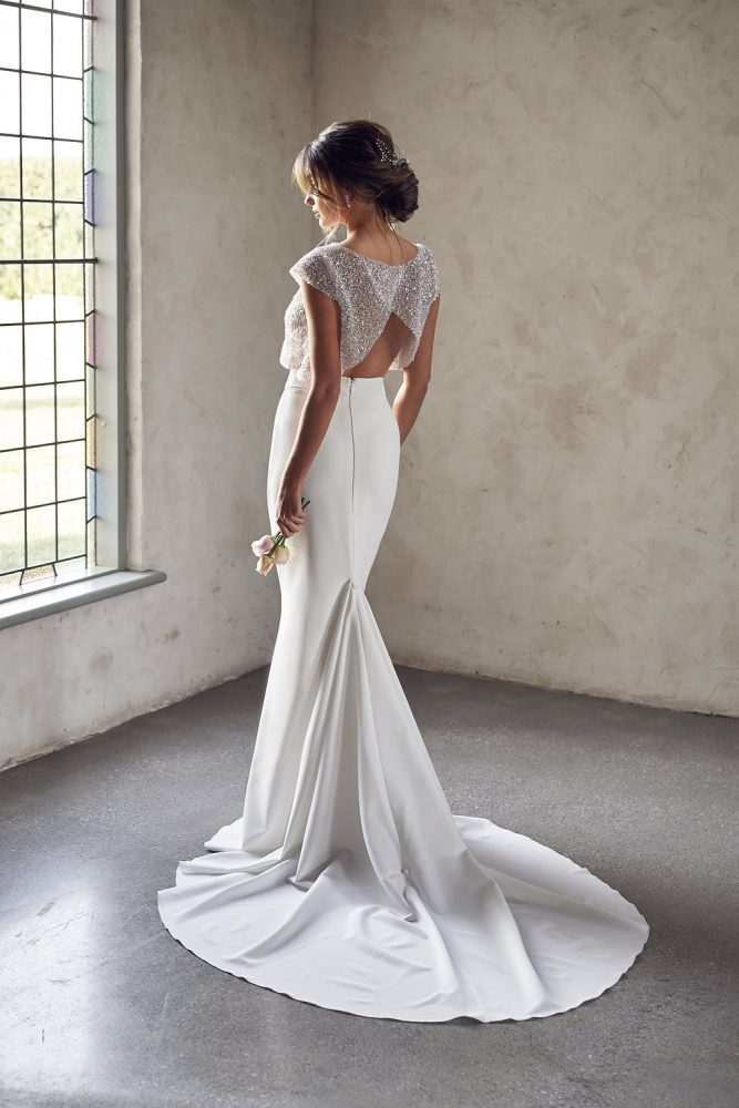 Cap Sleeve Illusion Neckline Two Piece Sheath Wedding Dress With Beaded Top by Anna Campbell - Image 2