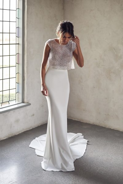 Cap Sleeve Illusion Neckline Two Piece Sheath Wedding Dress With Beaded Top by Anna Campbell - Image 1