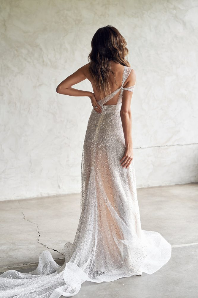 One Shoulder Sweetheart Neckline Beaded A-line Wedding Dress by Anna Campbell - Image 2