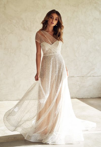 One Shoulder Sweetheart Neckline Beaded A-line Wedding Dress by Anna Campbell
