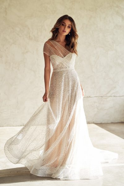 One Shoulder Sweetheart Neckline Beaded A-line Wedding Dress by Anna Campbell - Image 1