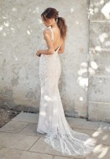 Sleeveless V-neckline Beaded Sheath Wedding Dress by Anna Campbell - Image 2