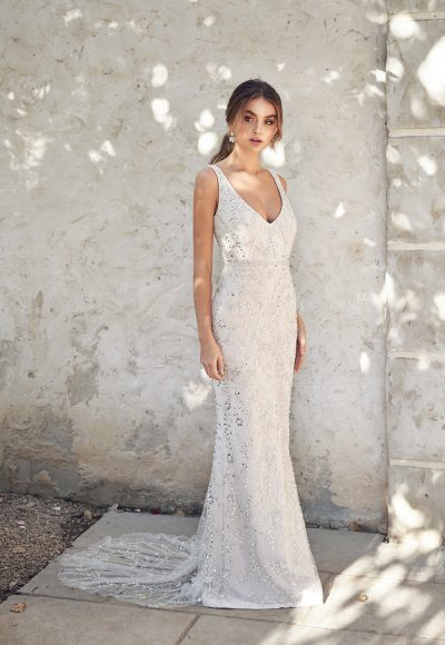 Sleeveless V-neckline Beaded Sheath Wedding Dress by Anna Campbell