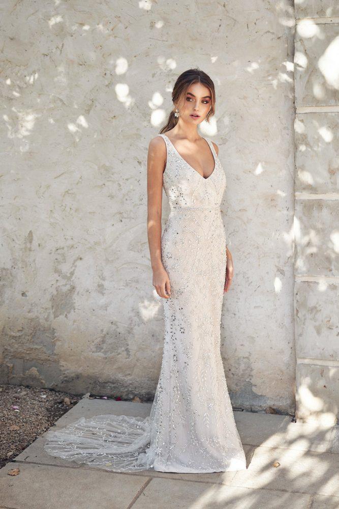 Sleeveless V-neckline Beaded Sheath Wedding Dress by Anna Campbell - Image 1