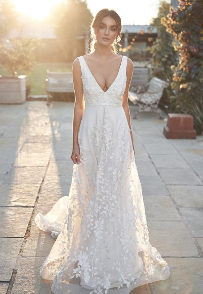 Straplesss V-neckline Floral A-line Wedding Dress by Anna Campbell