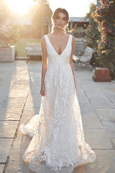 Straplesss V-neckline Floral A-line Wedding Dress by Anna Campbell - Image 1
