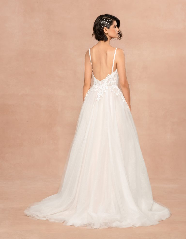 Spaghetti Strap Sweetheart Neckline A-line Wedding Dress With Floral Appliques by BLUSH by Hayley Paige - Image 2