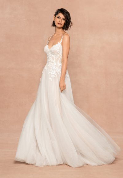 Spaghetti Strap Sweetheart Neckline A-line Wedding Dress With Floral Appliques by BLUSH by Hayley Paige