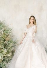 Long Sleeve V-neckline Lace Ball Gown Wedding Dress by Demetrios for Kleinfeld - Image 1