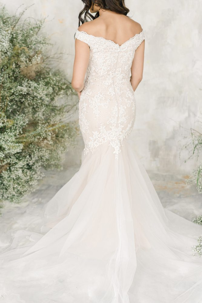 Off The Shoulder Sweetheart Neckline Fit And Flare Wedding Dress With Beaded Lace by Demetrios for Kleinfeld - Image 2
