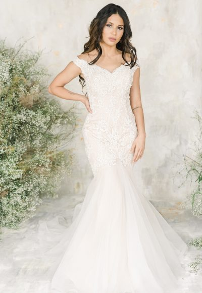 Off The Shoulder Sweetheart Neckline Fit And Flare Wedding Dress With Beaded Lace by Demetrios for Kleinfeld