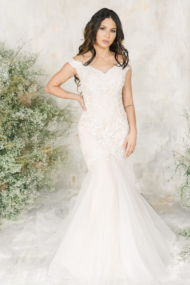 Off The Shoulder Sweetheart Neckline Fit And Flare Wedding Dress With Beaded Lace by Demetrios for Kleinfeld - Image 1