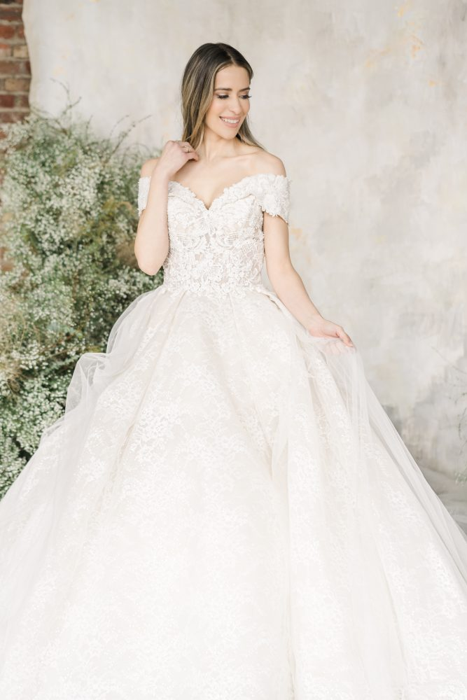 Off The Shoulder Sweetheart Neckline Lace Ball Gown Wedding Dress by Demetrios for Kleinfeld - Image 1
