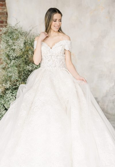 Off The Shoulder Sweetheart Neckline Lace Ball Gown Wedding Dress by Demetrios for Kleinfeld