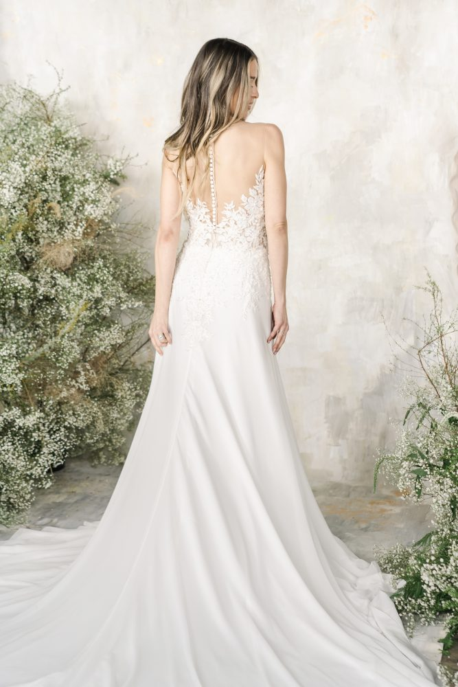 Sleeveless Illusion Neckline A-line Wedding Dress by Demetrios for Kleinfeld - Image 2