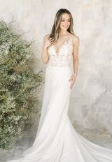 Sleeveless Illusion Neckline A-line Wedding Dress by Demetrios for Kleinfeld - Image 1