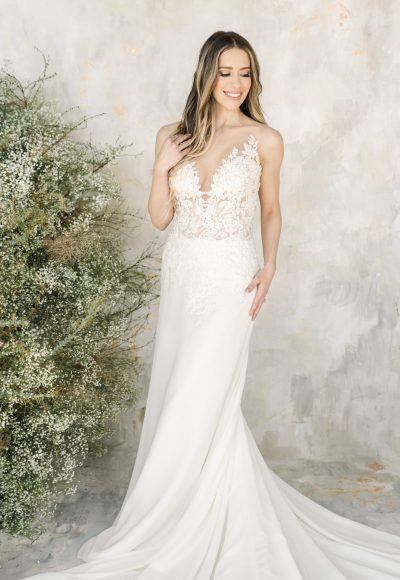 Sleeveless Illusion Neckline A-line Wedding Dress by Demetrios for Kleinfeld