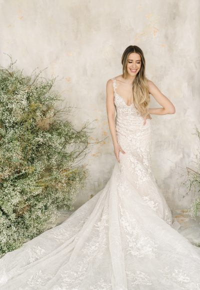 Sleeveless Sweetheart Neckline Lace Fit And Flare Wedding Dress by Demetrios for Kleinfeld